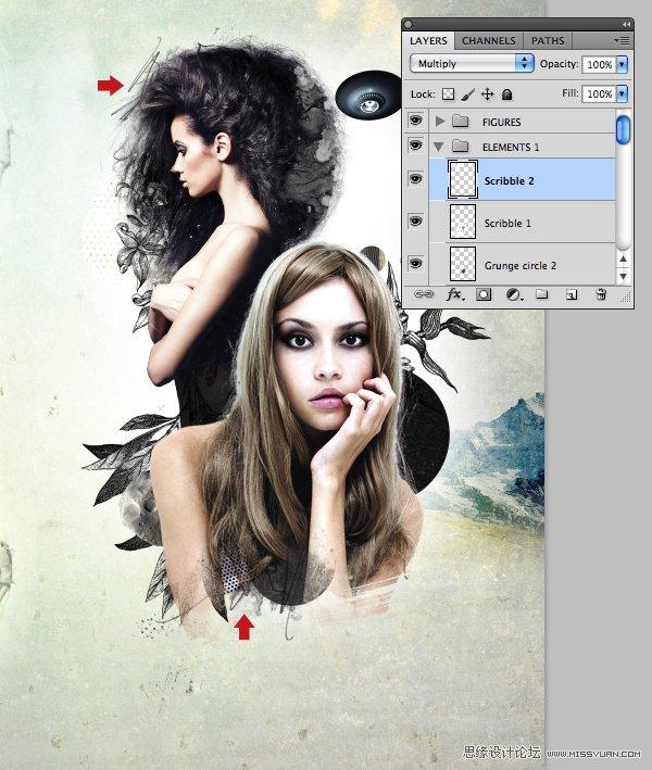 本教程主要使用Photoshop合成混搭风格人物拼贴海报效果,演示了将现有的元素运行混搭并创作出新风格的一种技法,把握这种技法能快速的提高你的创作能力,扩展创作风格。 来源:psdtutsplus 效果图  准备 在开始之前你最好先明确你想要创作的风格。我并不局限于某一种特定的风格,因为多年以来我的创作一直是多样化的。在这个教程里,我想尝试手绘元素与那些烂大街的复古风格模特相片相结合的可能性。 下一步是整合我现有的可重复使用的元素。如果你看过我的收费教程(赤裸裸的广告.